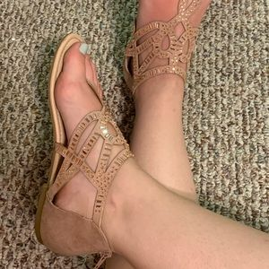 Nude Sparkly Flat Sandals